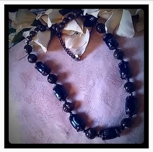 Vintage Signed PONO Glass Bead Necklace